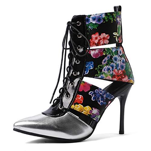Leder-patent Leder Heels (YAN Damenmode Schuhe Ladies ' Sandals Spring and Summer Pointed Super High Heels Patent Leder Lewäde-Kleder-Bucht Ankle Boots,A,41)