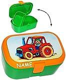 alles-meine.de GmbH Lunchbox / Brotdose -  Traktor & Bauernhof  - Incl. Namen - mit Extra Einsat..