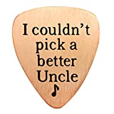 Uncle Gifts Guitar Pick for Best Uncle - I couldnt Pick a Better Uncle Charm Pendant Stainless Steel (B Rose Gold)