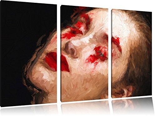 Frau mit roten Puder Pinsel Effekt 3-Teiler Leinwandbild 120x80 Bild auf Leinwand, XXL riesige...