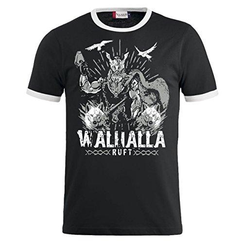 Männer und Herren T-Shirt Walhalla ruft (mit Rückendruck) Schwarz/Weiß