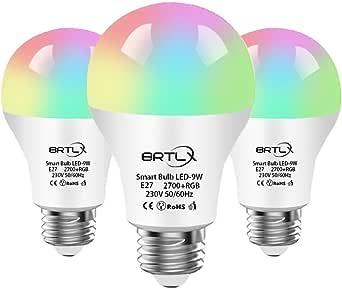 Smart Alexa Lampe,BRTLX WiFi LED 9W E27 Birne RGB Dimmbare Glühbirne,800LM,Smartphone Gesteuert Arbeitet mit Amazon Alexa und Google Home Fernbedienung von IOS & Android,3 Stück