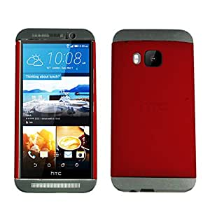 Heartly Double Dip Hard Shell Premium Back Case Cover For HTC One M9 - Grey Red Grey
