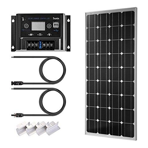 Sunix Panneau solaire 100 Watts 12 Volts Monocristallin + 12/24V 10A controleur de charge avec batterie et fusible + Connecteur MC4+ Mounting Z Brackets for Off-Grid 12/24 Volt Battery System