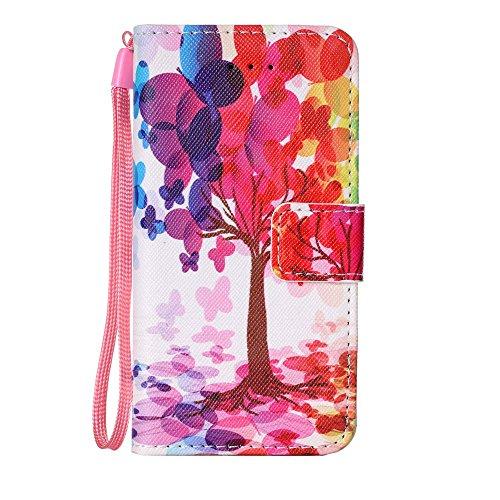 MOONCASE IPhone 5 / 5S / iPhone SE Hülle, [Wolf] Muster PU Ledertasche Case mit Magnetverschluß Klappbar Brieftasche Dünn Schutzhülle Folio Cover für iPhone 5G / 5S / SE Colorful Tree