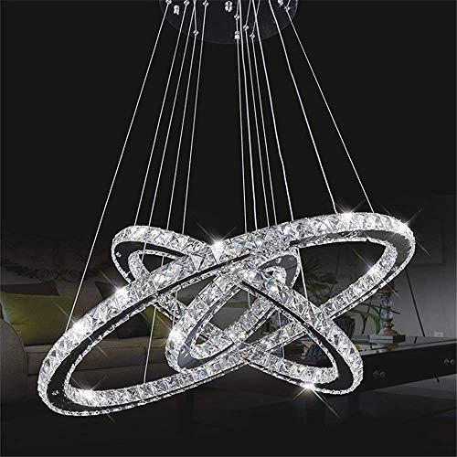 Gorkuor Leuchter Moderne K9 Kristall Deckenleuchte 72W LED Pendelleuchte Klar Kristall Kronleuchter Einstellbare 3-Tier Runde 30X50X70 cm Lampe Lampe by (Farbe : 6500k White Light) -