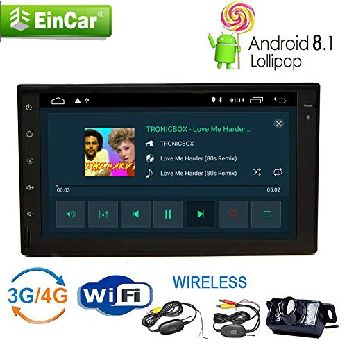 Wireless-Backup-Kamera + Android 8.1 Auto-Stereo 7-Zoll-Doppel 2Din GPS-Navigation mit 2GB RAM / 16 GB ROM Quad-Core Autoradio Kapazitive Touch-Screen No-DVD-Player eingebauten WiFi-Antenne Bluetooth (Beste Backup-kamera-system)