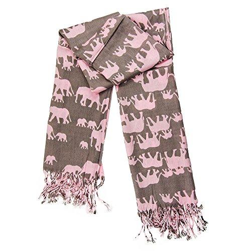 MANUMAR Schal für Damen | feines Hals-Tuch in rosa mit Elefanten-Motiv als perfektes Herbst Winter Accessoire | Klassischer Damen-Schal | Stola | Mode-Schal | Das ideale Geschenk für Frauen