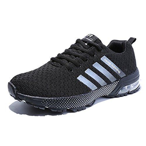 Damen Herren Laufschuhe Sportschuhe Turnschuhe Trainers Running Fitness Atmungsaktiv Sneakers(Schwarz,Größe 47)