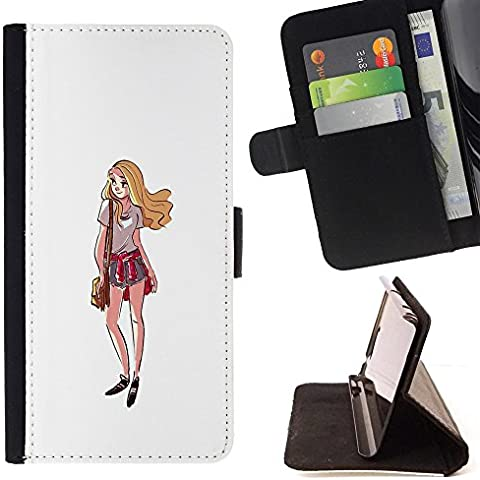 Pelle Portafoglio Custodia protettiva Cassa Leather Wallet Case for LG K10 / CECELL Phone case / / Girl Shorts Summer Outfit Style Fashion Art /