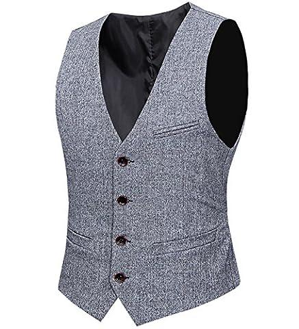 Slim Fit Schnitt Tweed Fischgräte Design Herren Business stilvoll einreiher Anzugweste Weste