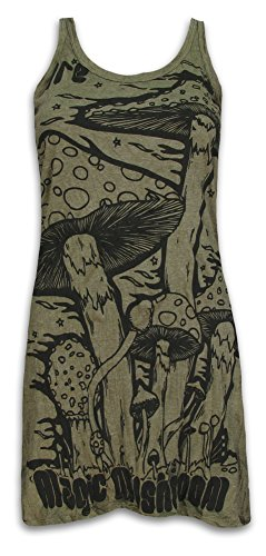 Flower Girl-tank (Sure Damen Träger-Kleid Magic Mushrooms Psychedelische Halluzinogene Zauber-Pilze Goa Party (Olive Grün M))