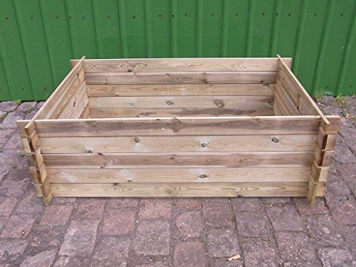 BIHL Stabiler Holzkomposter Komposter Hochbeet 170 x 120 x 52 cm
