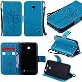 Guran® Funda de Cuero Para Nokia Lumia 635 Smartphone Función de Soporte con Ranura para Tarjetas Flip Case Cover-azul