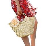 Liladida Señoras Bolso Gran Capacidad única Flor Grande Bolso Bolsa de Playa de ratán Ocio Paquete Balneario,el Color de la Imagen
