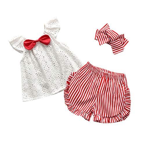 LEXUPE Kleinkind Baby Kinder Mädchen Lace Bow Tie Solid Tops Streifen Geraffte Shorts Haarband Set(Weiß,70) Weiß Bow Tie Set