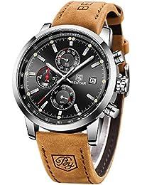 BENYAR Herren Uhr Chronograph Analog Quarz Business Schwarz Zifferblatt Armbanduhr für männer Leder Band Braun