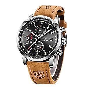BENYAR Herren Uhr Chronograph Analogue Quartz Uhr Männer Business Schwarz Zifferblatt Armbanduhr mit Leder Armband