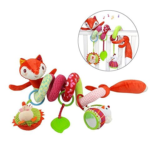 Gspirit Activity Spiral Cot Toy Fox Dog Caterpillar Baby Hanging Pushchair Toy Baby Bed (Fuchs) (Dog Pull Toy)