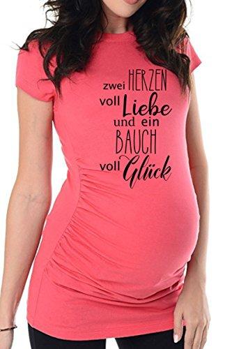 bellytime Rosa Zwei Herzen, 44, Umstands T-Shirt/Schwangerschafts T-Shirt, Bedrucktes Shirt für die Werdende Mutter, Tolles Geschenk, Witzig, liebevoll