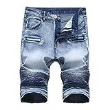 Sweat Jeans Herren Jeans Shorts Kurze Hose mit Destroyed-Optik Shorts Slim Fit Bermuda Jeans Shorts Sommer Jogger Shorts Sommer Kurze Hose aus Stretch-Material,ABsoar (36, Blau)