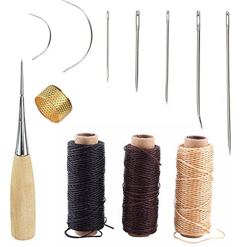 t Werkzeug,Leder Handwerk Werkzeug Handnähen Tool Kit Nähte Näh Werkzeug Set DIY Kit Nähzeug Zubehör mit 3 Stück Leder Nähen Wachsfaden (Kunst Und Handwerk, Teppich)