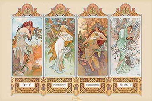Mucha, Alphonse - 4 Seasons - Poster Kunst Gemälde Jugendstil 4 Jahreszeiten - Grösse 91,5x61 cm
