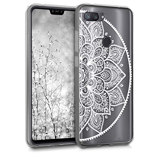 kwmobile TPU Silicone Case for Xiaomi Mi 8 Lite - Crystal Clear Smartphone Back Case Protective Cover - Indian Half-Flower White/Transparent