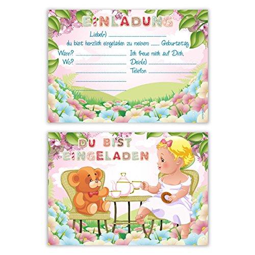 dergeburtstag Jungen Mädchen 8 Stück Karten - Tee Party ()