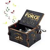 Leegoal Star Wars Wood Muisc Box, Hand Kurbel antike Geschnitzte hölzerne Musical-Boxen Geburtstags Weihnachten