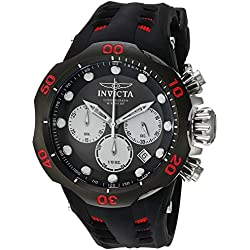 Invicta Men's 'Venom' Quartz Stainless Steel and Silicone Casual Watch, Color:Black (Model: 22349)