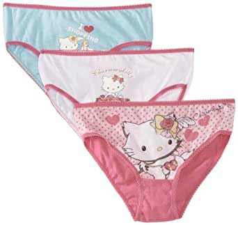 Charmmy Kitty Girl's HM3027 Set of 3 Knickers, Multicoloured (White/Pink/Blue), 3 Years (Manufacturer Size:2-3 Years)