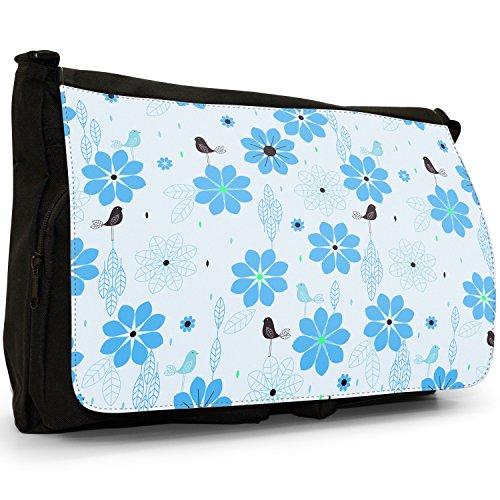 Stile moderno con fiori e uccelli, colore: nero, Borsa Messenger-Borsa a tracolla in tela, borsa per Laptop, scuola Light Blue