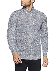 Tommy Hilfiger Mens Casual Shirt (8907504000920_A6AMW004_M_Black Iris-Pt/Classic White)