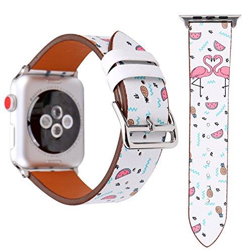 Für Apple Watch Armband 38mm 42mm Leder Flamingo-Thema Armbänder für Herren Damen iwatch Armband Series 3 Series 2 Series 1 (38mm, Doppelter Flamingo) -