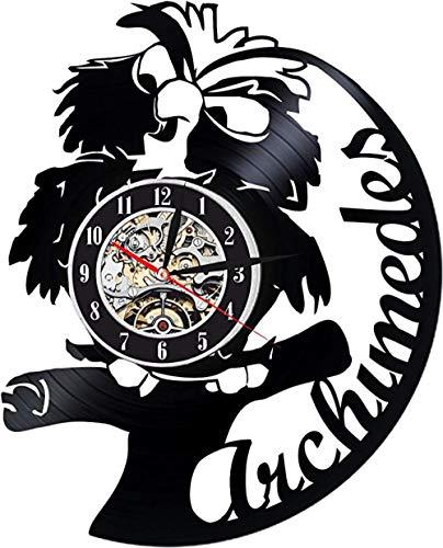 Archimedes Vinyl Wanduhr Exklusive Vogel Design Perfekte Cartoon Geschenk Für Kinder Junge Oder Mädchen Decortion Für Klassenzimmer Schlafzimmer Oder Spielzimmer Eule Stein Schwert Keine Led