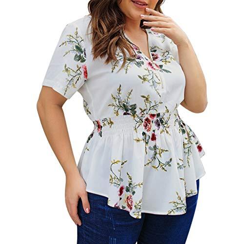 Cool Plus Polo (Yanhoo Damen T-Shirt mit V-Ausschnitt und großen Print Plus Größe Damen Blumendruck V-Shirt Damen Zip Up Sommerbluse Tops)