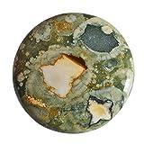 Cabujón redondo de jaspe de riolita australiana de alta calidad, parte trasera plana, tamaño 30 x 30 x 5,5 mm, piedra para colgante AG-13784