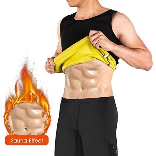 Chaleco/Pantalones cortos Sauna Hombre Neopreno NOVECASA Trajes Sauna Body Shaper Transpirar Gimnasia para Sudoración, Quema Grasa, Faja Abdome Adelgaza (L, Negro)