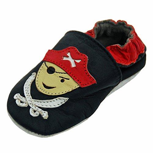 Lappade Pirat schwarz Art.30 Baby Lederschuhe für Jungen, Lauflernschuhe mit Wildledersohle 12-18 Monate (EU 21/22) (Piraten-baby)
