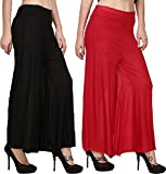 Rooliums Women's Trendy and Stylish Palazzo Pack of 2 (Black, Red, Free Size)