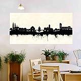Bamberg Stadt von Kunstbruder Skyline - Wandbild - SW (div. Größen) - Kunst Druck auf Leinwand 90x180cm