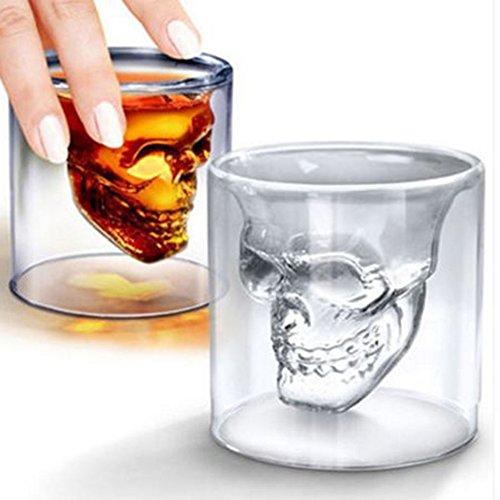 Totenkopf Skelett Whisky doppelte Wand Bar Wein Gläser Glas Tasse Kristall Skull Head Vodka Shot Wein Glas 1598Neuheit Tassen Einzigartiges Design 25ml (Glencairn Glas Scotch)