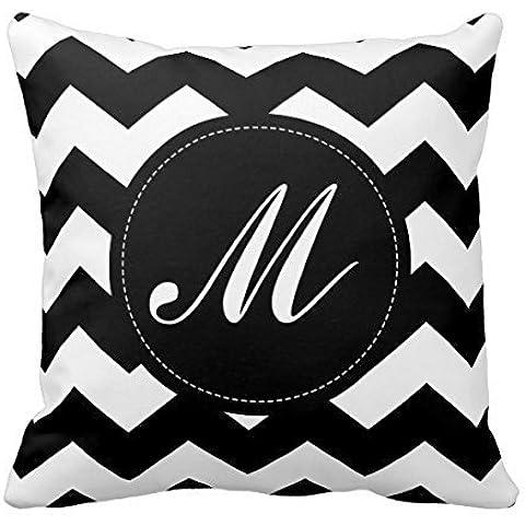 Chevron Monogram Decors M, colore: bianco-nero-Federa per cuscino, Home divano, quadrati 18 X 18 cm, 2 lati