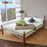 Homestyle4u Metallbett 160 x 200 Bettgestell Doppelbett Bettrahmen + Lattenrost 920 weiß