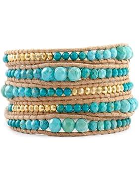 KELITCH Blau Türkis Vergoldet Legierung Wrap Armband Beige Leder Armbänder