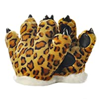 JasmineLi Funny Fluffy Animal Paw Claw Gloves Tiger Leopard Cosplay Party Costumes Props for Kids Adults