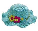 Kinder Strand Hut Hübsches kleines Mädchen Curling Schatten Strohhut Drei Blumen Blau