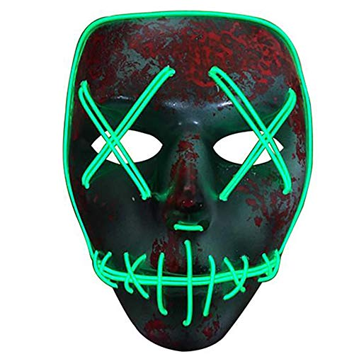 Alxcio LED Light EL Wire Cosplay Maske, Halloween Masken Scary Purge Horror Mask für Halloween Christmas Party Costume, Batterie Angetrieben