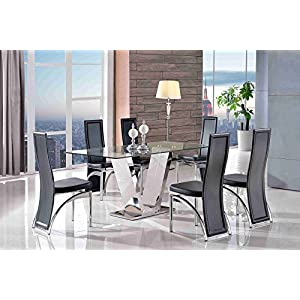 MODERN FURNITURE DIRECT VALENTINO DESIGNER DINING TABLE & ALISA Chairs| Tempered Glass | Steel Frame | Fast